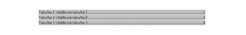 zoznam tabuliek vo Worde v diplomovej práci